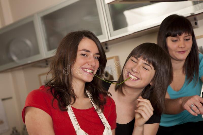 Download Φίλοι που μαγειρεύουν από κοινού Στοκ Εικόνα - εικόνα από εύθυμος, εσωτερικός: 17053929