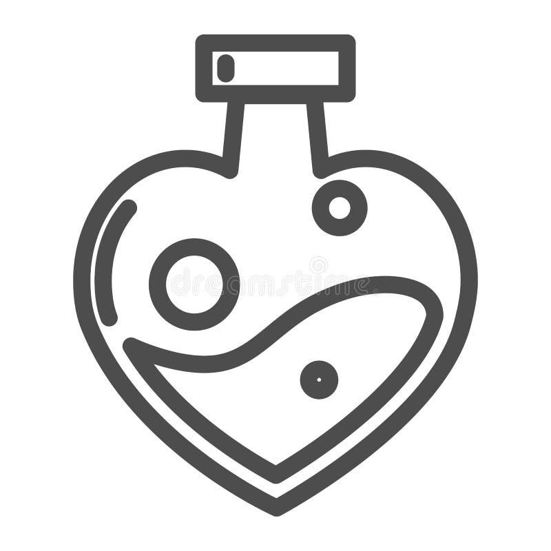 Φίλτρο αγάπης διαμορφωμένο στο καρδιά εικονίδιο γραμμών μπουκαλιών Μαγική διανυσματική απεικόνιση ποτών αγάπης που απομονώνεται σ ελεύθερη απεικόνιση δικαιώματος