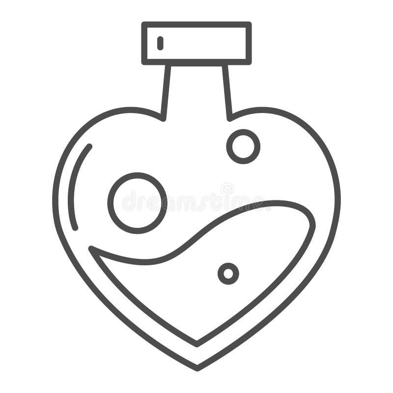 Φίλτρο αγάπης διαμορφωμένο στο καρδιά εικονίδιο γραμμών μπουκαλιών λεπτό Μαγική διανυσματική απεικόνιση ποτών αγάπης που απομονών ελεύθερη απεικόνιση δικαιώματος