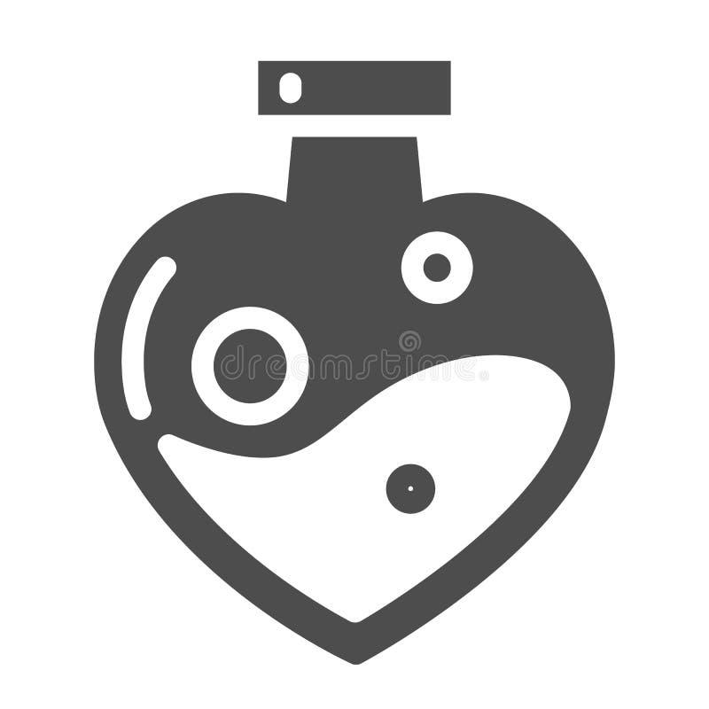 Φίλτρο αγάπης διαμορφωμένο στο καρδιά στερεό εικονίδιο μπουκαλιών Μαγική διανυσματική απεικόνιση ποτών αγάπης που απομονώνεται στ απεικόνιση αποθεμάτων