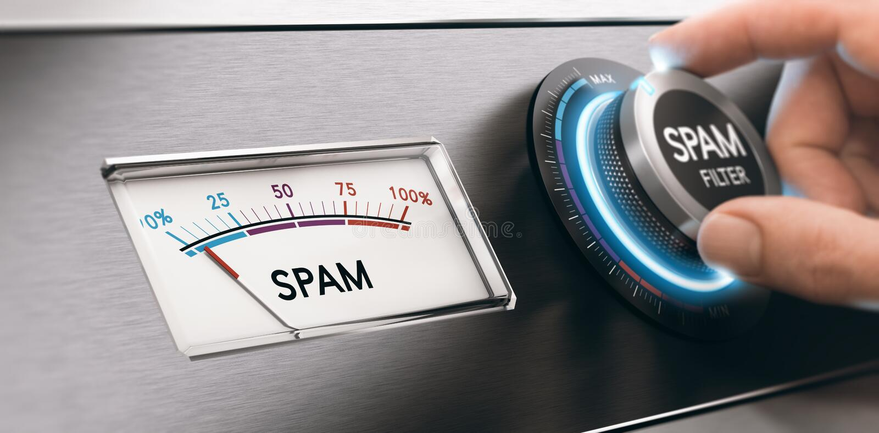 Φίλτρο ηλεκτρονικού ταχυδρομείου Spam, έννοια ταχυδρομείου φιλτραρίσματος ελεύθερη απεικόνιση δικαιώματος