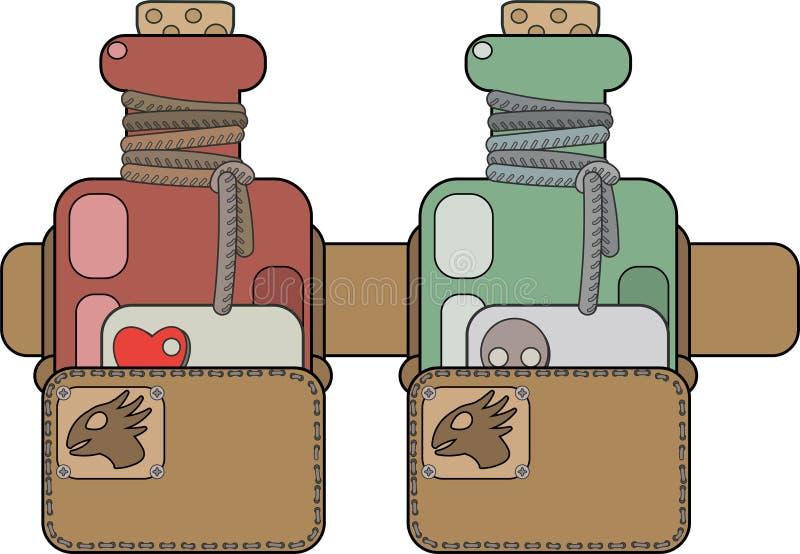 Φίλτρο και δηλητήριο αγάπης στις τσάντες στη ζώνη του απεικόνιση αποθεμάτων
