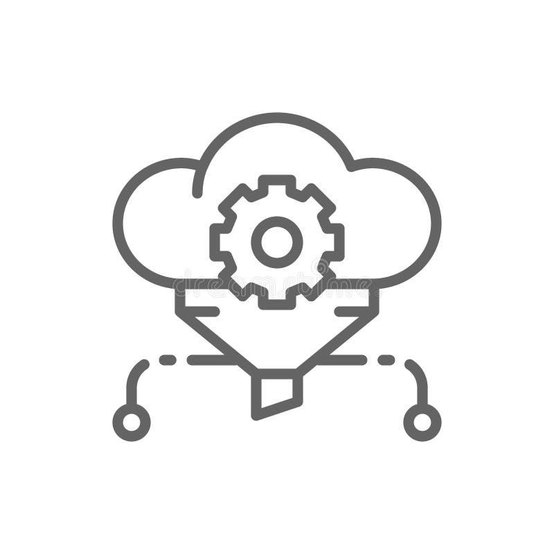 Φίλτρο σύννεφων, μεγάλα στοιχεία, εικονίδιο γραμμών βάσεων δεδομένων υπηρεσιών διανυσματική απεικόνιση