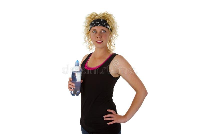 Μπουκάλι νερό εκμετάλλευσης γυναικών στοκ φωτογραφίες