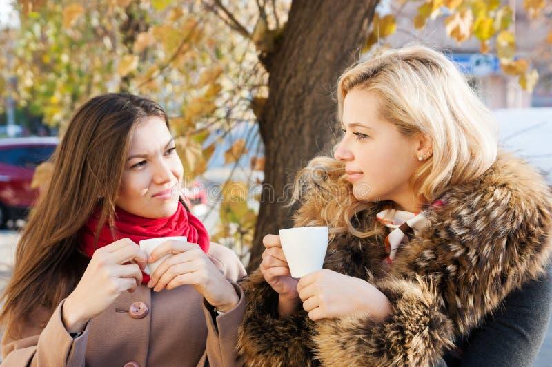 Φίλες και καφές το φθινόπωρο στοκ φωτογραφία
