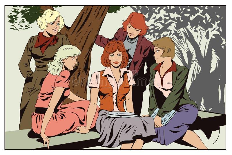 Φίλες κοριτσιών που μιλούν στο πάρκο Άνθρωποι στο αναδρομικό ύφος απεικόνιση αποθεμάτων