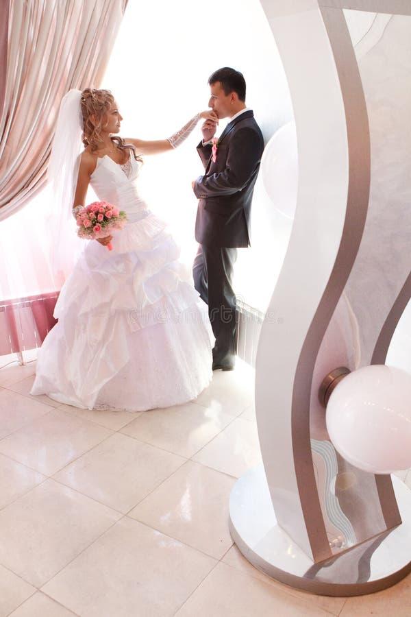 Φίλημα γαμήλιων ζευγών στοκ φωτογραφία