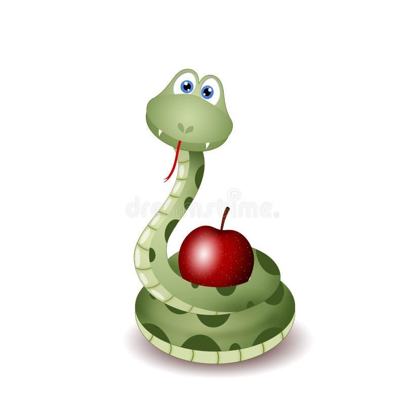 Φίδι με τα φρούτα της αμαρτίας απεικόνιση αποθεμάτων