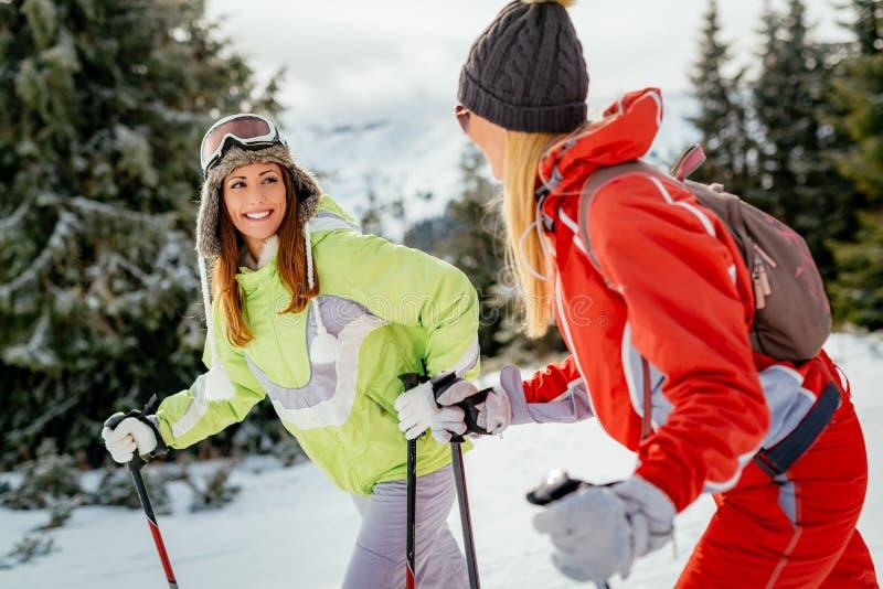 Φίλοι κοριτσιών στις χειμερινές διακοπές στοκ φωτογραφία με δικαίωμα ελεύθερης χρήσης