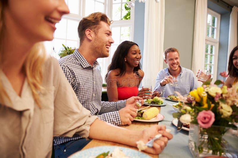 Φίλοι που κάθονται στο σπίτι τον πίνακα για το κόμμα γευμάτων στοκ εικόνες με δικαίωμα ελεύθερης χρήσης