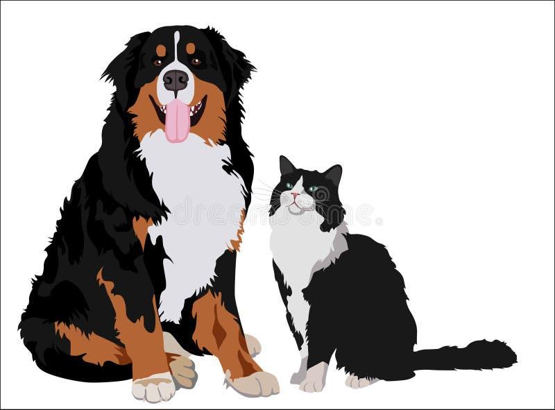 Φίλοι σκυλιών και γατών Ζώα που στέκονται από κοινού επίσης corel σύρετε το διάνυσμα απεικόνισης διανυσματική απεικόνιση