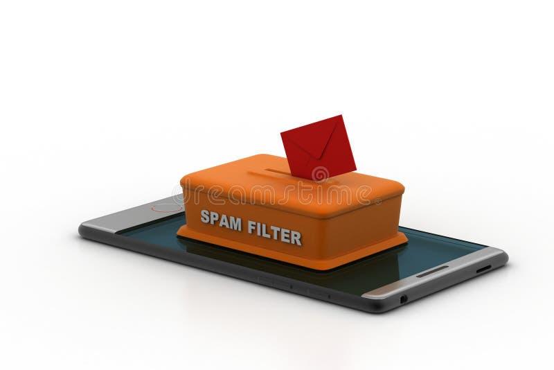 Φίλτρο Spam στο έξυπνο τηλέφωνο διανυσματική απεικόνιση