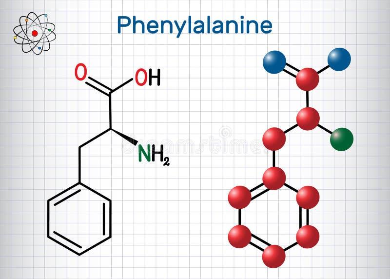 Φαινυλαλανίνη λ φαινυλαλανίνης, Phe, μόριο αμινοξέος Φ Φύλλο του εγγράφου σε ένα κλουβί Δομικός χημικός τύπος και μόριο διανυσματική απεικόνιση