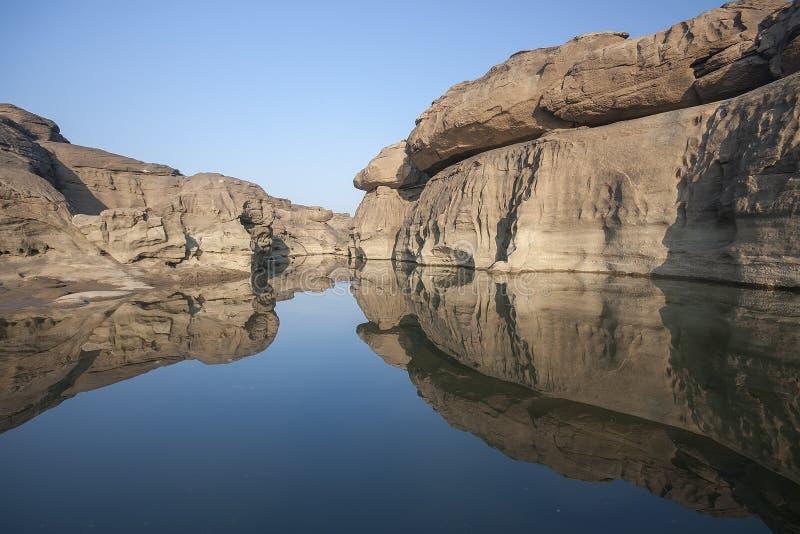 Φαινόμενο που προκαλείται φυσικό από τη διάβρωση του ποταμού στοκ εικόνα