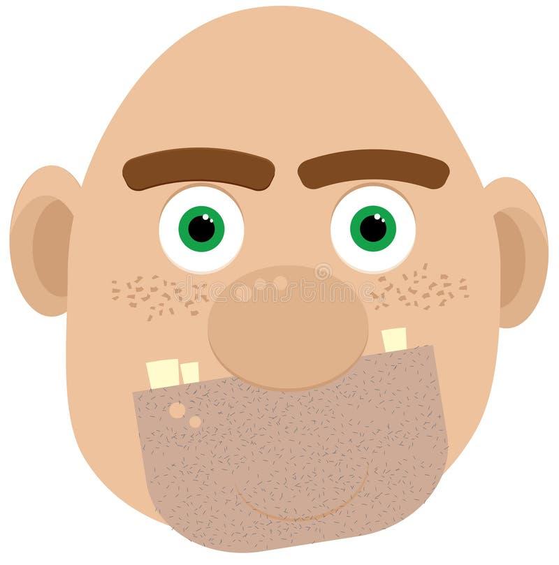 φαλακρός ogre προσώπου διανυσματική απεικόνιση