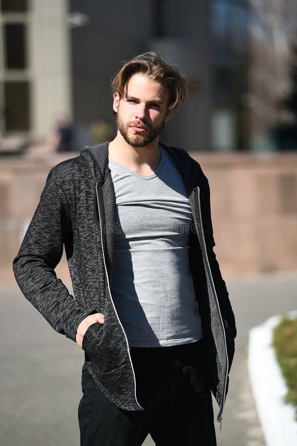 Φαλλοκράτης με τη γενειάδα και κούρεμα στην γκρίζα μπλούζα στοκ φωτογραφία με δικαίωμα ελεύθερης χρήσης