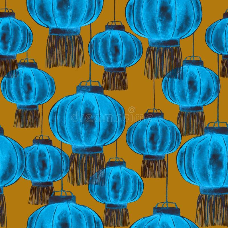Φανάρια παραδοσιακού κινέζικου, άνευ ραφής σχέδιο σχεδίων απεικόνιση αποθεμάτων