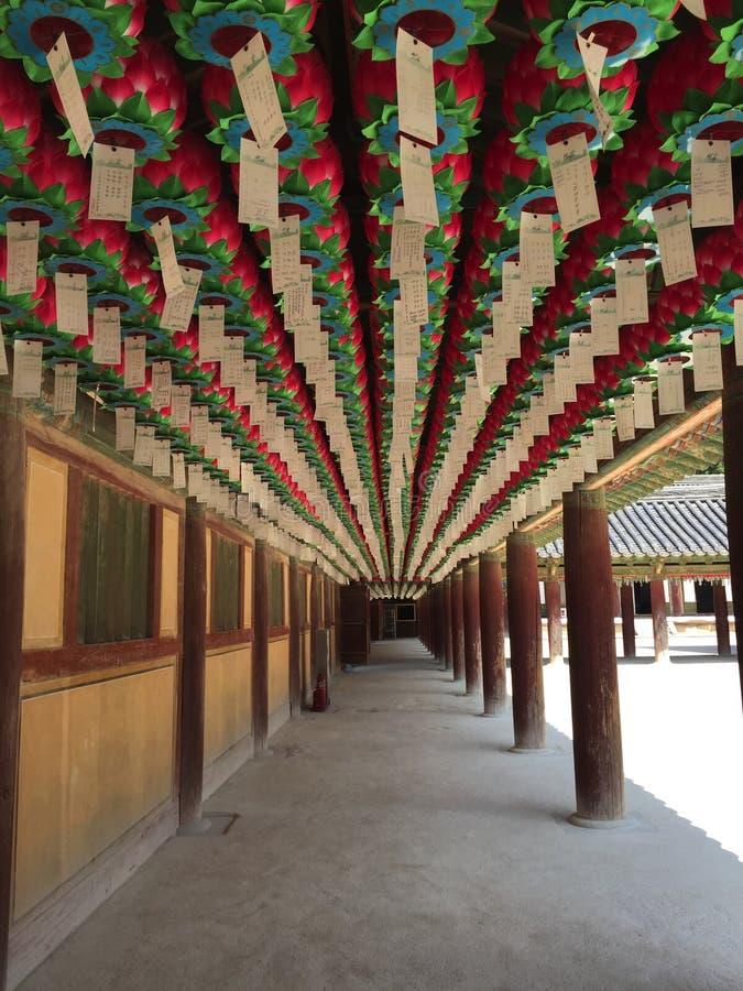 Φανάρια στο ναό βουδισμού στην Κορέα στοκ φωτογραφία με δικαίωμα ελεύθερης χρήσης