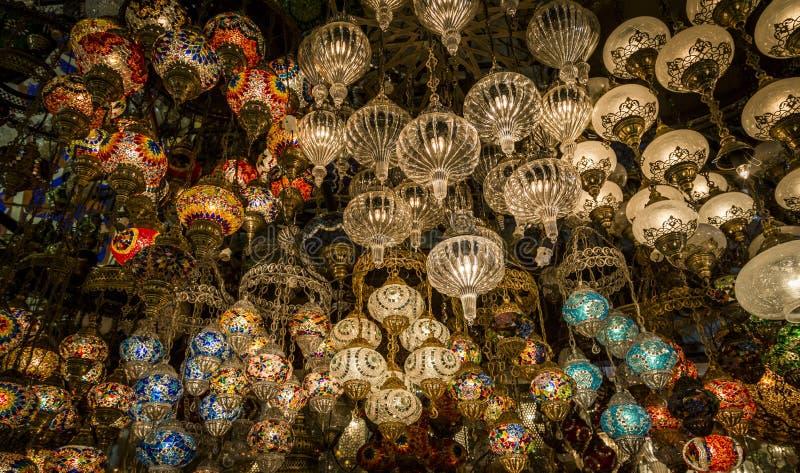 Φανάρια στο Gran Bazaar, Ιστανμπούλ, Τουρκία στοκ εικόνες