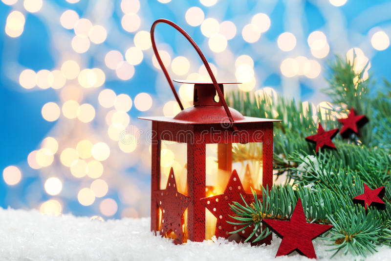 Φανάρι και το FIR Χριστουγέννων στοκ φωτογραφία με δικαίωμα ελεύθερης χρήσης