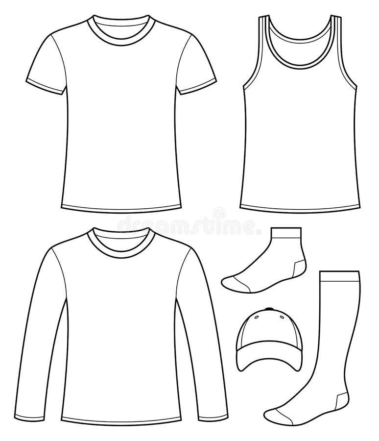 Φανέλα, μπλούζα, μακρύς-sleeved μπλούζα, ΚΑΠ και πρότυπο καλτσών διανυσματική απεικόνιση