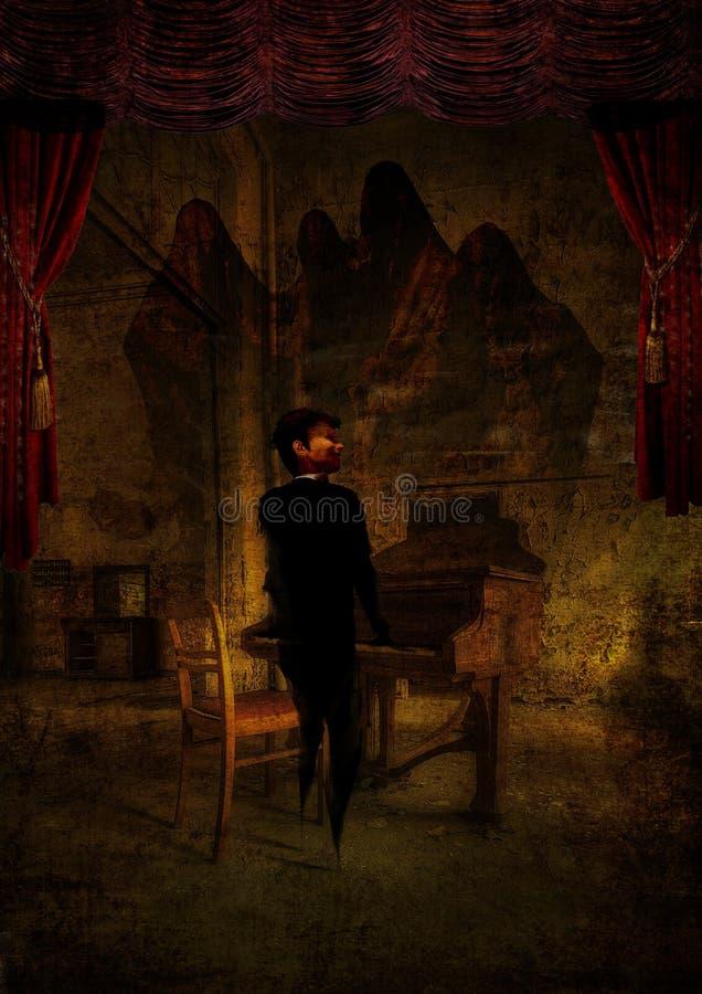 Φαντάσματα Phantomatic με ένα αγόρι που παίζουν το πιάνο του στοκ εικόνες