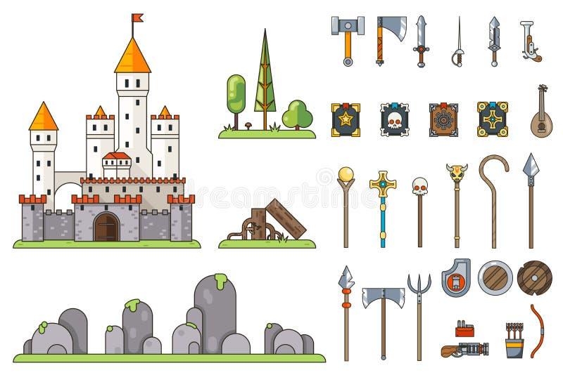Φαντασίας του Castle παιχνιδιών όπλων οθόνης έννοιας τυχοδιωκτών RPG επίπεδο διάνυσμα προτύπων εικονιδίων ουρών νεράιδων σχεδίου  ελεύθερη απεικόνιση δικαιώματος