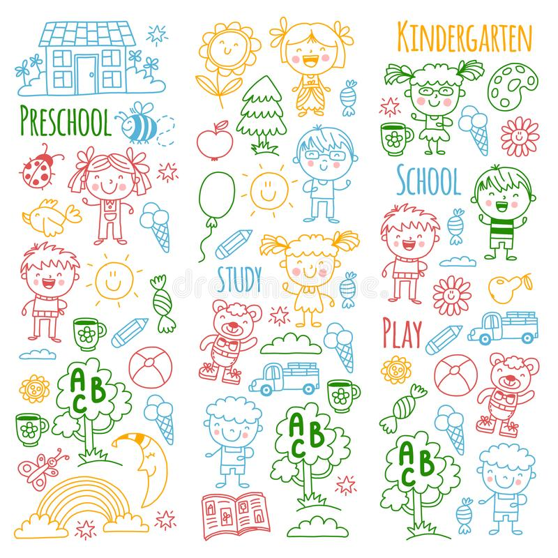 φαντασία εξερεύνηση μελέτη Παιχνίδι μάθετε kindergarten Παιδιά γιος μητέρων κατσικιών γιαγιάδων παππούδων οικογενειακών πατέρων σ ελεύθερη απεικόνιση δικαιώματος