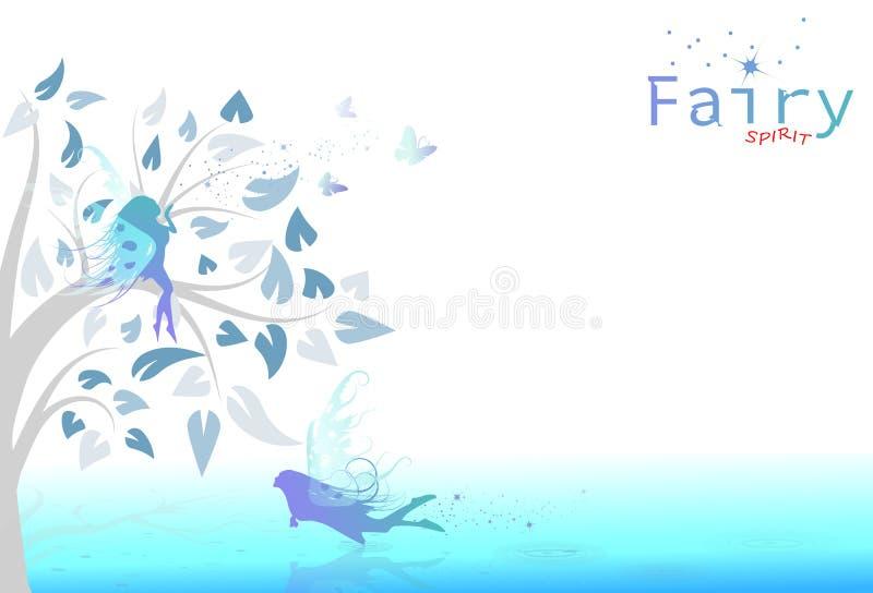 Φαντασία και πεταλούδα νεράιδων που πετούν στο floral κήπο του ουρανού αβ ελεύθερη απεικόνιση δικαιώματος