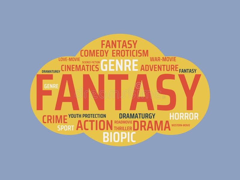 ΦΑΝΤΑΣΙΑ - εικόνα με τις λέξεις που συνδέονται με τον ΚΙΝΗΜΑΤΟΓΡΑΦΟ θέματος, λέξη, εικόνα, απεικόνιση απεικόνιση αποθεμάτων