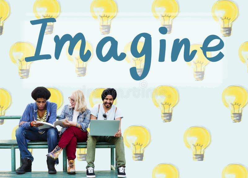 Φανταστείτε τη μεγάλη έννοια ονείρου δημιουργικότητας έμπνευσης οράματος στοκ εικόνα