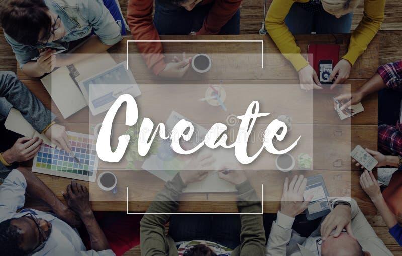 Φανταστείτε ότι δημιουργήστε αντιλαμβάνεται την έννοια ιδεών στοκ εικόνα