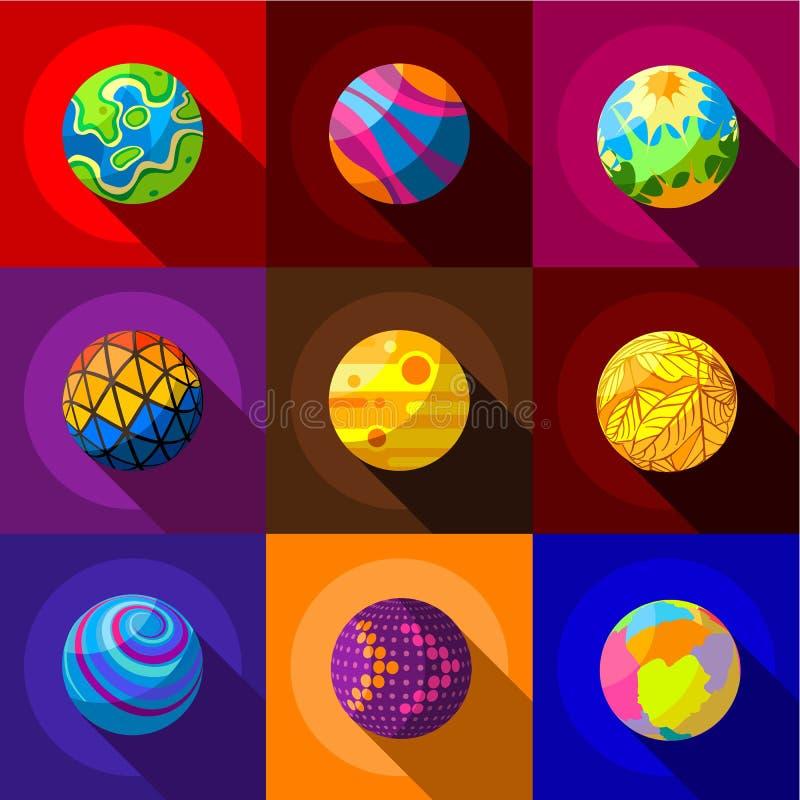 Φανταστικά εικονίδια πλανητών καθορισμένα, επίπεδο ύφος διανυσματική απεικόνιση