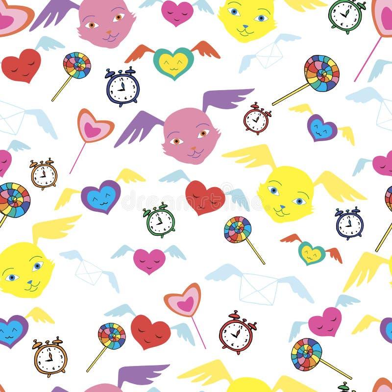 Φανταστικά τέρατα, χαριτωμένα πρόσωπα με τα φτερά, καραμέλες ουράνιων τόξων, smil απεικόνιση αποθεμάτων