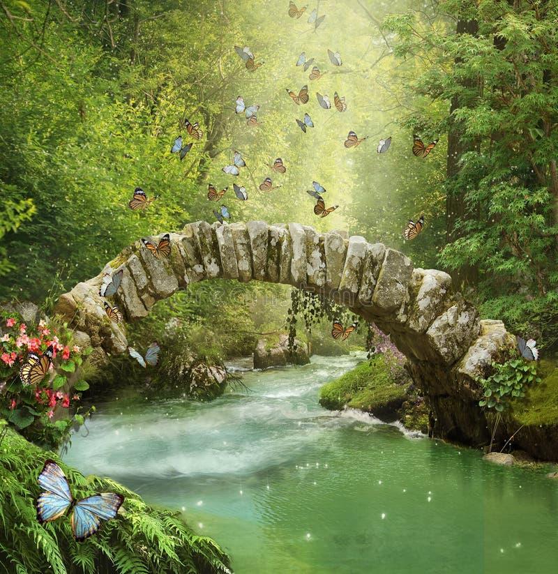 Φανταστική γέφυρα στο δασικό Photomanipulation τρισδιάστατος απεικόνιση αποθεμάτων