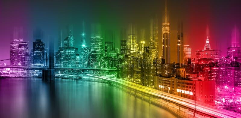 Φανταστική ζωηρόχρωμη σκηνή νύχτας πόλεων της Νέας Υόρκης στοκ εικόνες