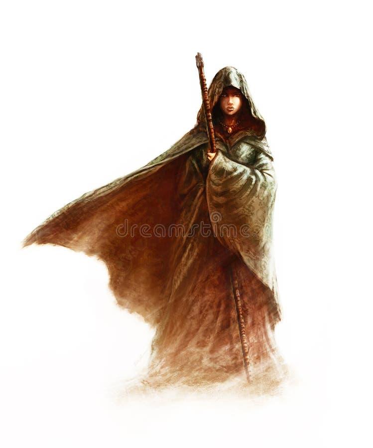 Φανταστική νεαρή μάγισσα - όμορφη γυναίκα με μανδύα και κουκούλα να κρατά ένα μαγικό ραβδί διανυσματική απεικόνιση