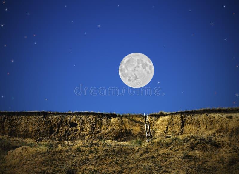 Φανταστική νύχτα παραμυθιού με το φεγγάρι και τα αστέρια, όνειρο, απεικόνιση στοκ εικόνα