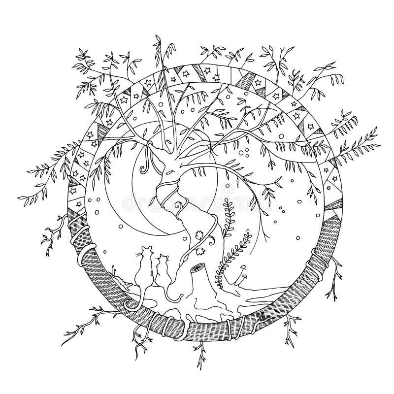 Φανταστική πλασματική παγκόσμια απεικόνιση με με την ιτιά, γάτες, φεγγάρι, αστέρια ελεύθερη απεικόνιση δικαιώματος