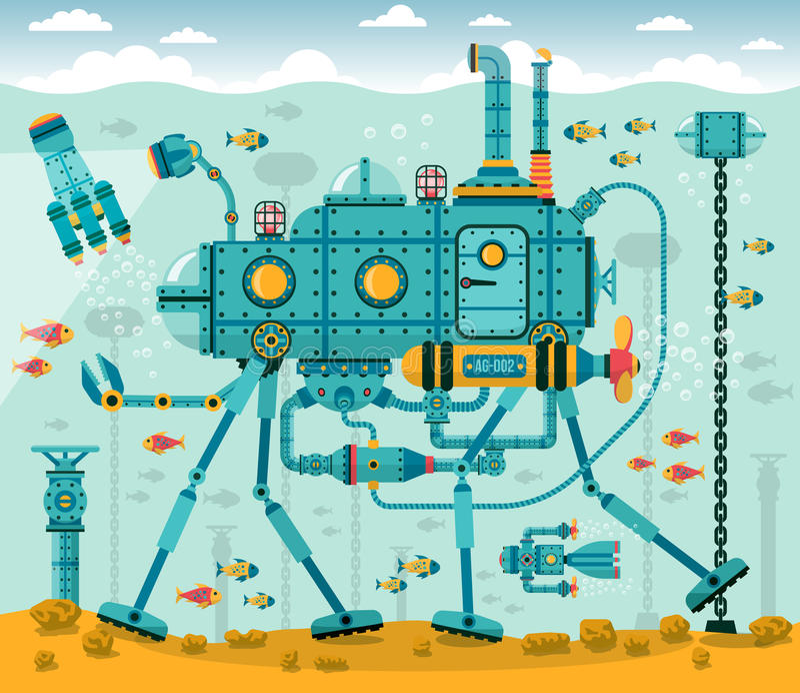 Φανταστική υποβρύχια μηχανή διανυσματική απεικόνιση