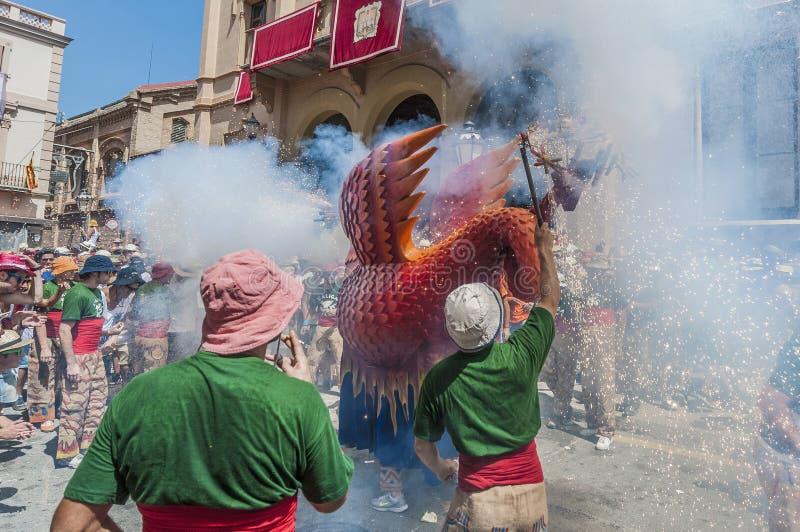 Φανταστικός αριθμός Aliga στον ταγματάρχη Festa σε Sitges, Ισπανία στοκ εικόνες