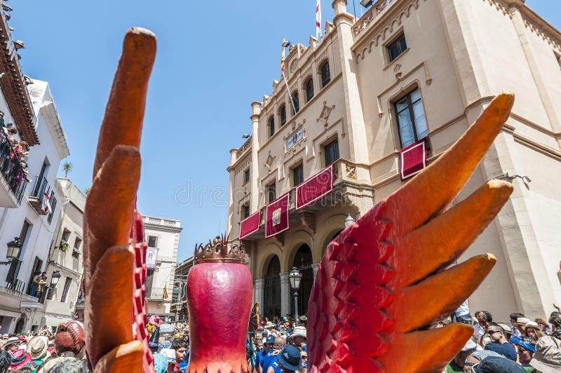 Φανταστικός αριθμός Aliga στον ταγματάρχη Festa σε Sitges, Ισπανία στοκ φωτογραφίες με δικαίωμα ελεύθερης χρήσης