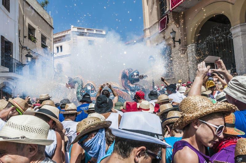 Φανταστικός αριθμός Drac στον ταγματάρχη Festa σε Sitges, Ισπανία στοκ φωτογραφίες με δικαίωμα ελεύθερης χρήσης