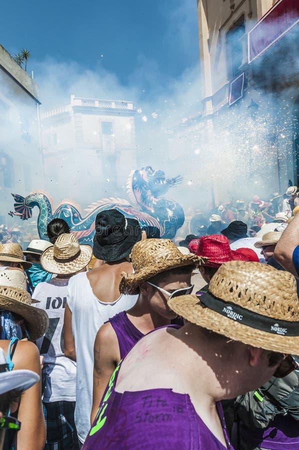 Φανταστικός αριθμός Drac στον ταγματάρχη Festa σε Sitges, Ισπανία στοκ φωτογραφία