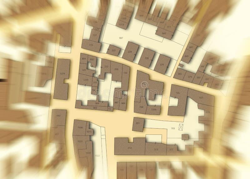 Φανταστικός κτηματολογικός χάρτης του εδάφους με τα κτήρια, τους δρόμους και το αγροτεμάχιο - θολωμένη εικόνα έννοιας ελεύθερη απεικόνιση δικαιώματος