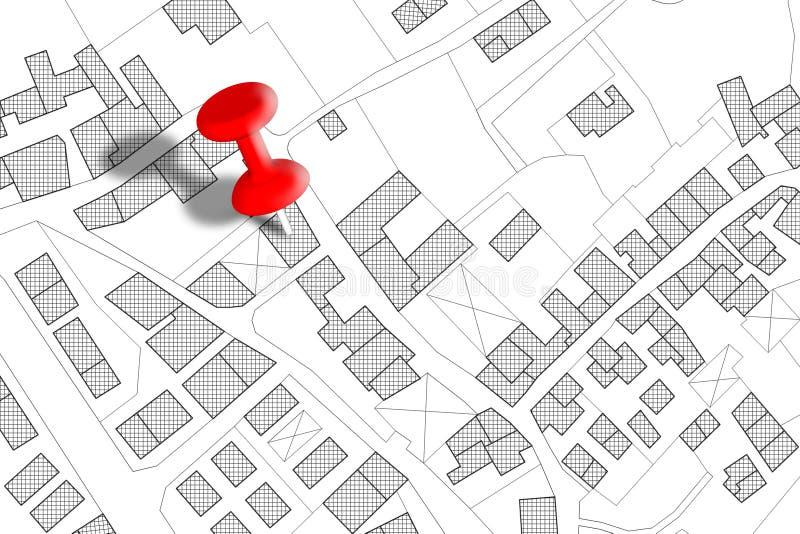 Φανταστικός κτηματολογικός χάρτης του εδάφους με τα κτήρια, τους δρόμους και το αγροτεμάχιο - εικόνα έννοιας με ένα κόκκινο pushp απεικόνιση αποθεμάτων