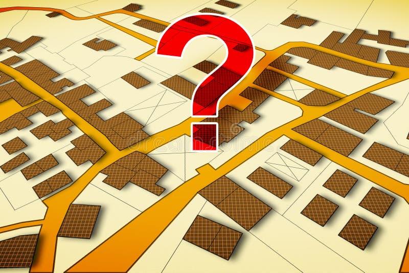 Φανταστικός κτηματολογικός χάρτης του εδάφους με τα κτήρια, τους δρόμους και το αγροτεμάχιο - εικόνα έννοιας με ένα ερωτηματικό ελεύθερη απεικόνιση δικαιώματος