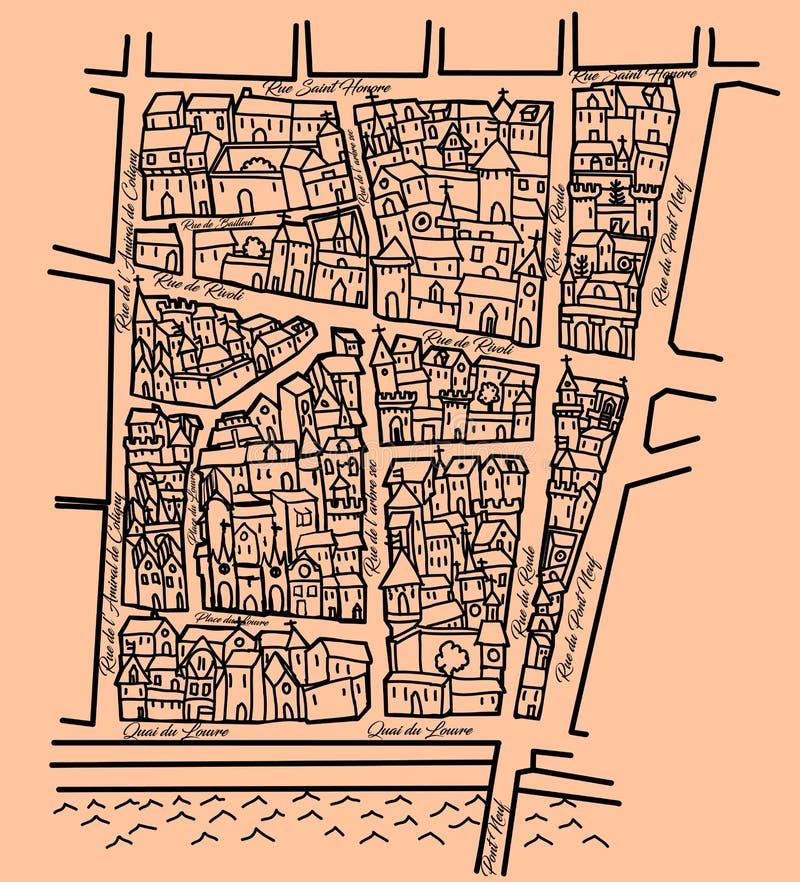 Φανταστικός παλαιός χάρτης απεικόνιση αποθεμάτων