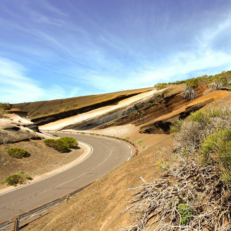 Φανταστικός Tenerife Κανάριων νησιών τοπίων δρόμος στοκ εικόνα με δικαίωμα ελεύθερης χρήσης