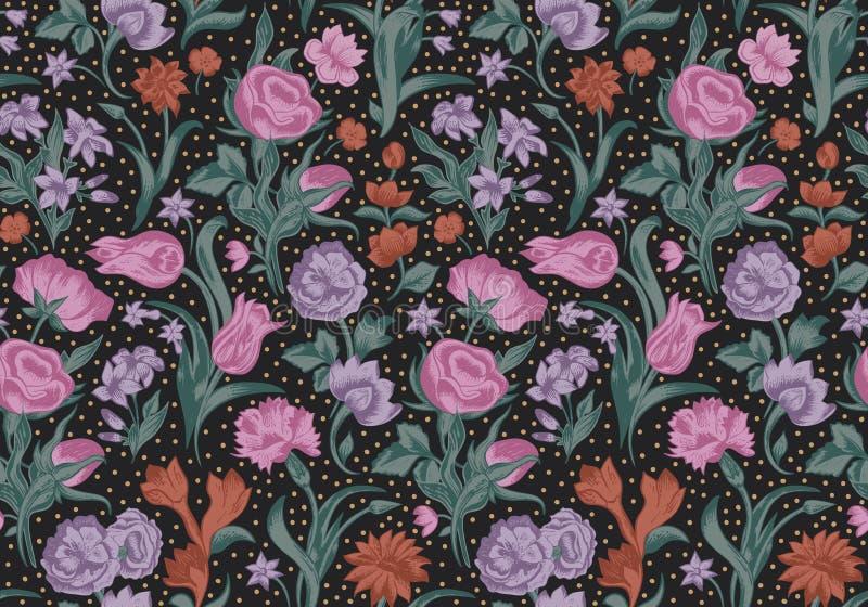 Φανταστικό διανυσματικό άνευ ραφής εκλεκτής ποιότητας floral σχέδιο. ελεύθερη απεικόνιση δικαιώματος